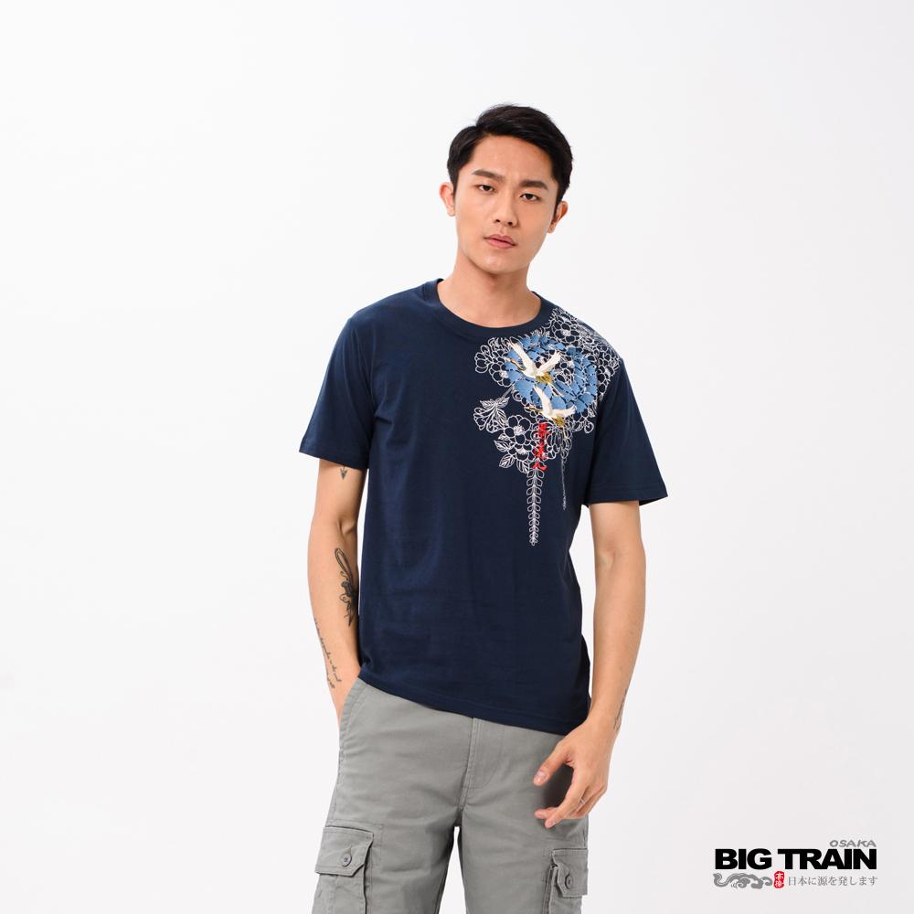 BIG TRAIN 騰鵲花柄圓領短袖-男-深藍