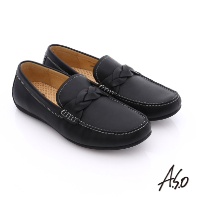 A.S.O 輕量抗震 真皮編織縫線奈米樂福鞋 黑色