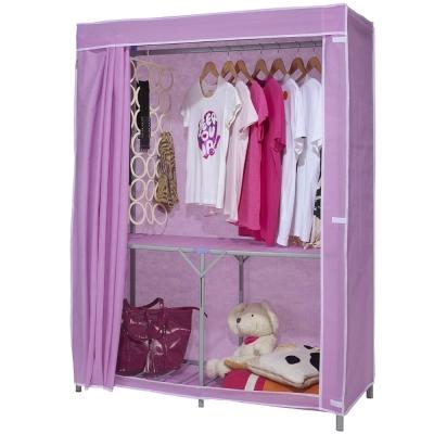 免工具 110公分寬-折疊式-鐵管吊衣櫥/吊衣架(附布套)4色可選