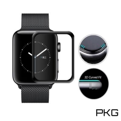 PKG Apple Watch 錶面保護貼-全滿版玻璃-黑色面板( 38 mm)