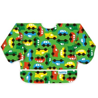 【淘氣寶寶】【美國Bumkins】小童(6-24月)長袖防水圍兜-彩色車車 BKSU-227【保證公司貨】