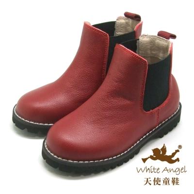 天使童鞋 全真皮中性百搭短靴(中大童) 紅 E725