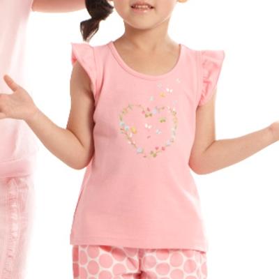 愛的世界 MYBABY 蝶舞圓領荷葉袖上衣/2~4歲
