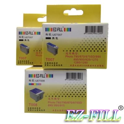 EZ-FILL EPSON T007 +T008 相容墨匣2黑1彩