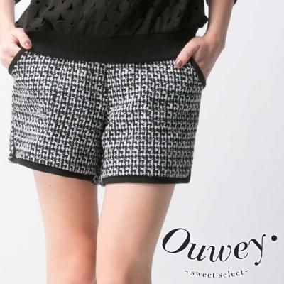 OUWEY歐薇-黑白圖紋中腰短褲