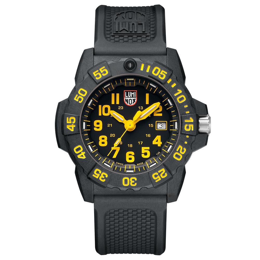 LUMINOX 雷明時NAVY SEAL 3500全新海豹2代系列腕錶-黃x白時標/45m