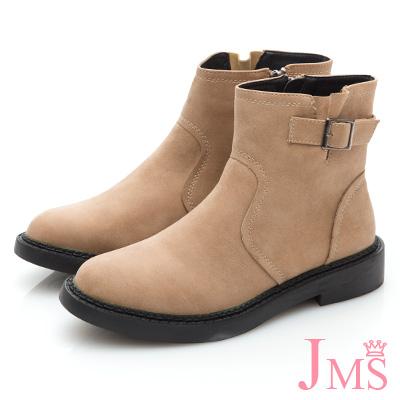 JMS-簡潔經典素面車線搭扣短靴-杏色