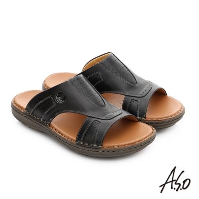 A.S.O 輕量樂活 全牛皮舒適休閒男拖鞋 黑色