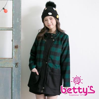 betty's貝蒂思 格紋開釦混羊毛大衣(綠色)