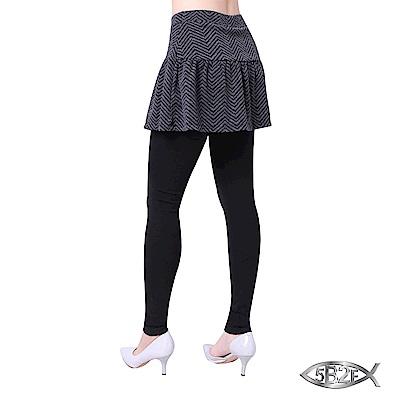 5B2F-五餅二魚-山形紋裙襬長褲-加厚內磨毛內搭