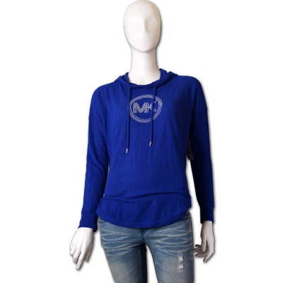 MICHAEL KORS 鉚釘圓形LOGO連帽針織上衣-寶藍/S