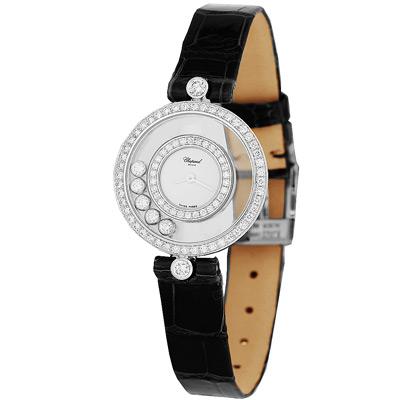 CHOPARD 蕭邦 HAPPY DIAMONDS系列 18白K圓形腕錶-24mm
