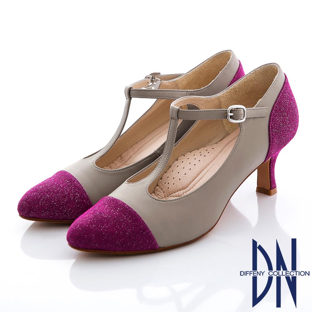 DN 復刻時尚 真皮金蔥拼接瑪莉珍款跟鞋 桃