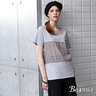 Begonia 縫釦拼接點點口袋上衣(藍色)