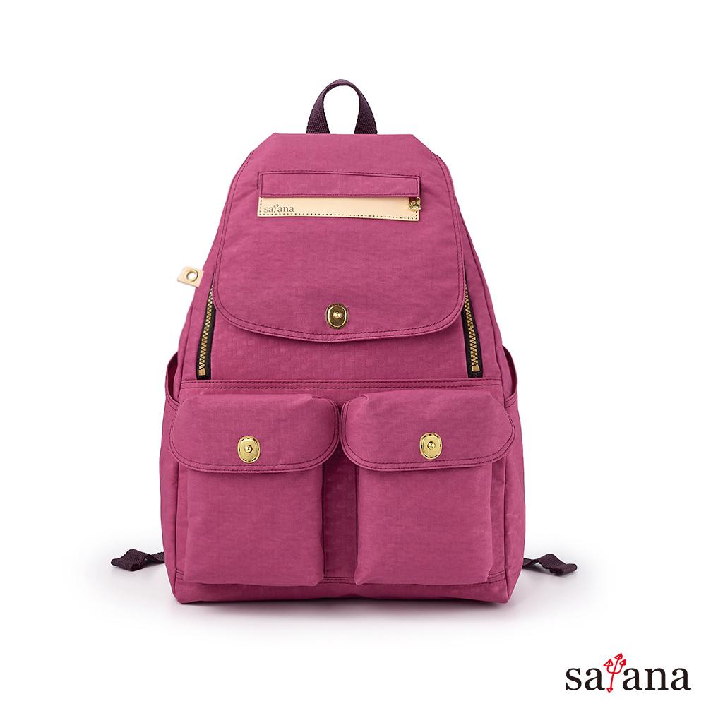 satana - Soldier 小拉鍊後背包 - 霧紫紅