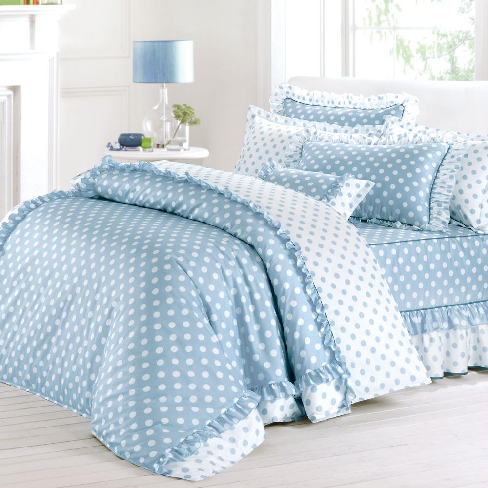 法國MONTAGUT - 甜蜜馬卡龍(藍) - 單人五件式鋪棉床罩組