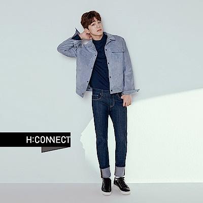 H:CONNECT 韓國品牌 男裝 - 麂皮感翻領外套 - 深藍