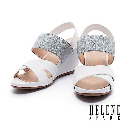 涼鞋 HELENE SPARK 摩登質感異材質設計交叉字帶楔型高跟涼鞋-白