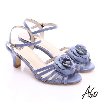 A.S.O 氣質名媛 立體山茶花細條帶涼鞋 紫