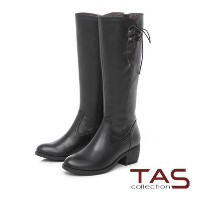 TAS 側邊綁帶金屬飾釦高跟長靴-率性黑