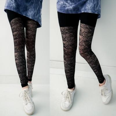 古著 滿版地圖網狀蕾絲鏤空彈性內搭褲