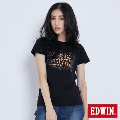EDWIN 太空銀河夜光短袖T恤-女-黑色