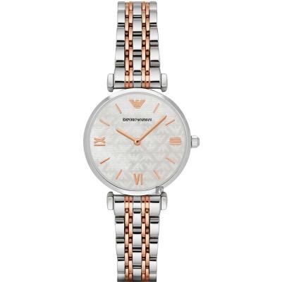 Emporio Armani Ladies 名媛最愛腕錶-銀x雙色/32mm