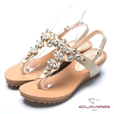 CUMAR氣質美人 水鑽裝飾夾腳涼鞋-米色
