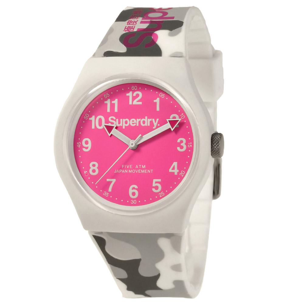 Superdry 極度乾燥 多彩 矽膠 運動腕錶-桃面/白帶/37mm