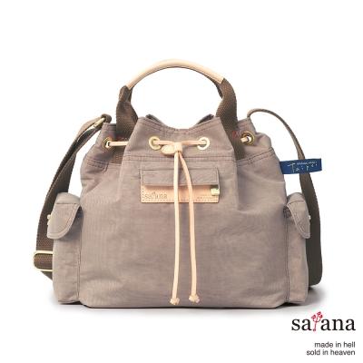 satana - Mini抽繩水桶包 - 松樹皮