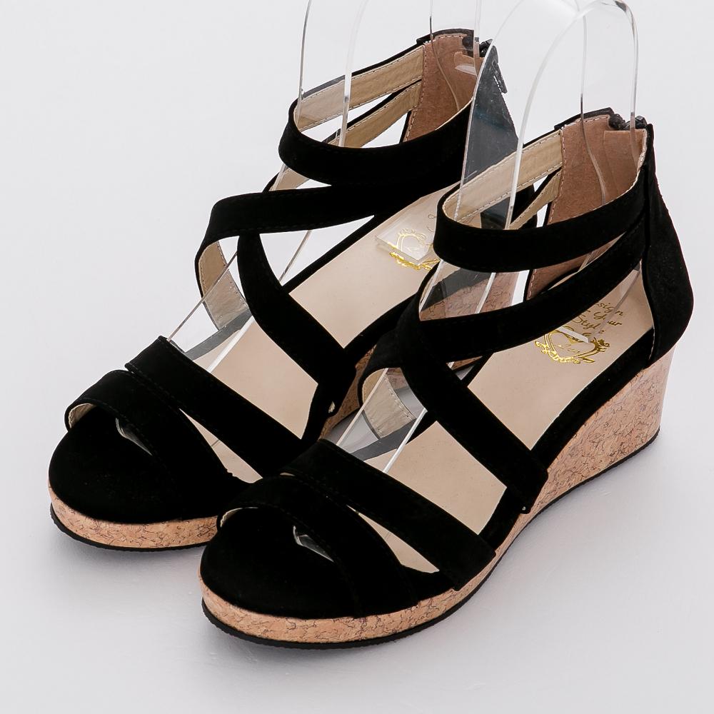River&Moon涼鞋-台灣製線條羅馬楔型涼鞋-黑