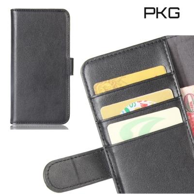 PKG HTC U11-Plus 側翻式皮套精緻皮革系列-真皮紋(黑)