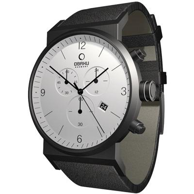 OBAKU 極簡主義三眼計時碼錶- 黑框白面/40mm