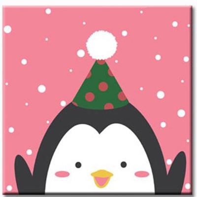 LOVIN 超萌韓版數字油畫 耶誕系列-耶誕企鵝(12)1幅20x20cm