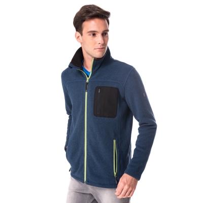 【hilltop山頂鳥】男款ZISOFIT保暖刷毛外套H22MU9深藍