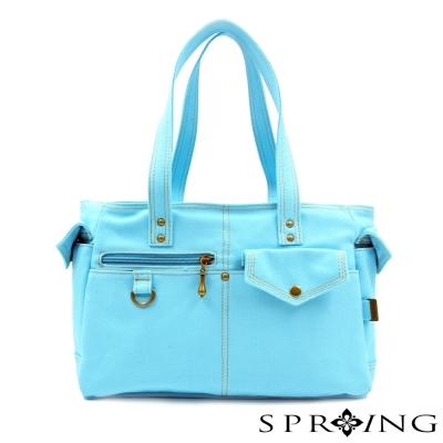SPRING-MIT簡約風格 帆布包 -肩背包-天空藍