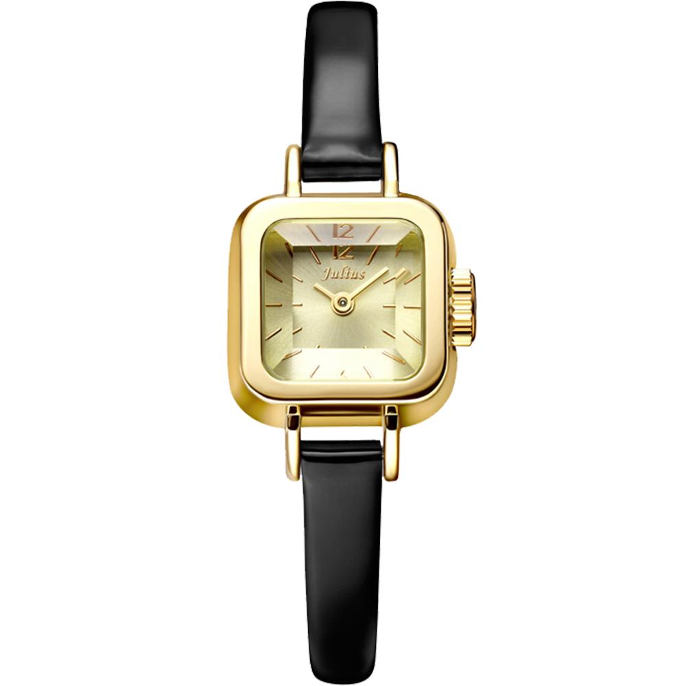 JULIUS聚利時 Choco小方糖立體切割鏡面皮帶腕錶-黑x金/24x24mm