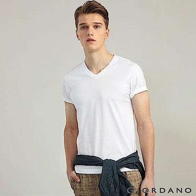 GIORDANO 男裝棉質V領素色短袖T恤-01 標誌白