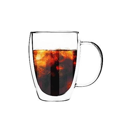 FUSHIMA日系雙層耐熱玻璃杯350ML(把手)