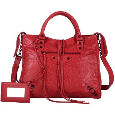 BALENCIAGA-VELO-兩用-機車包-紅色