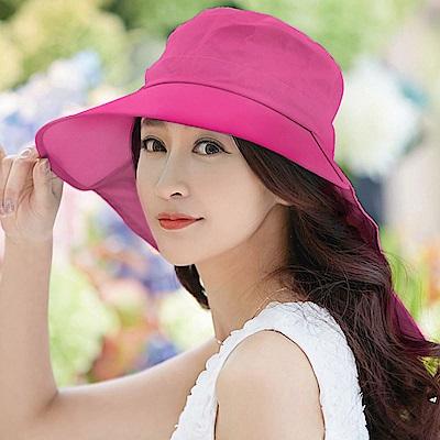 【幸福揚邑】清爽優雅抗UV護頸大帽檐可捲收露馬尾遮陽帽-玫紅