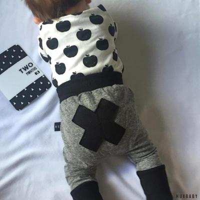 Huxbaby 澳洲 黑灰抽繩有機棉縮口長褲