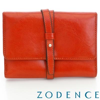 ZODENCE-義大利植鞣革雋永系列牛皮飾帶中夾-橘紅