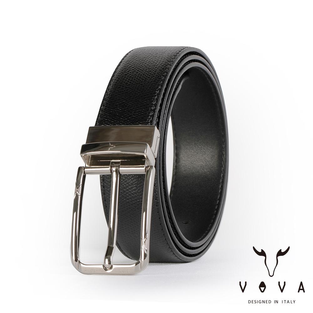 VOVA 紳士方頭穿針式可旋轉蛇紋皮帶 - 鎗色