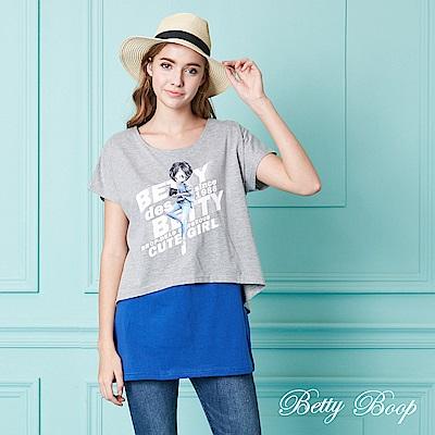 Betty Boop貝蒂 圓領印圖配色假兩件上衣(共兩色)