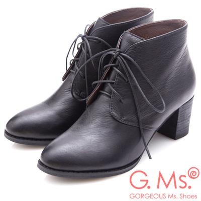 G.Ms. 牛皮優美楦頭綁帶粗跟短靴-黑色
