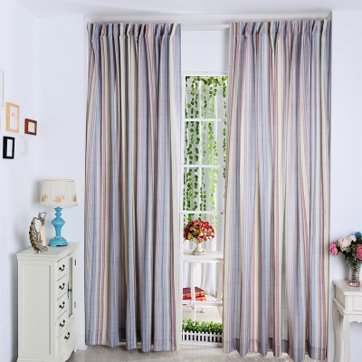 伊美居 - 直條彩虹半腰窗簾 130x165cm(2件)