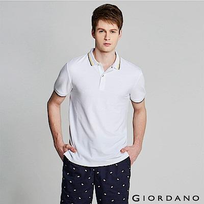 GIORDANO  男裝經典撞色立領短袖POLO衫-01 標誌白