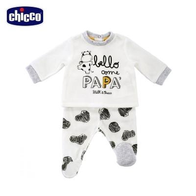 chicco小乳牛愛爸比剪毛絨長袖套裝-白(3個月-12個月)