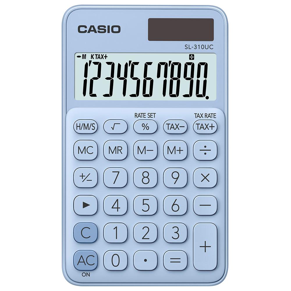 CASIO 10位元甜美馬卡龍輕巧口袋型計算機(SL-310UC-LB)-蘇打藍